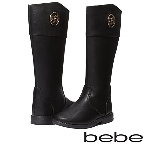 Cut Medallion (bebe Baby Toddlers Girls Black/Silver Knee High Cut Riding Boots With Medallion and Side Zip Size 7)