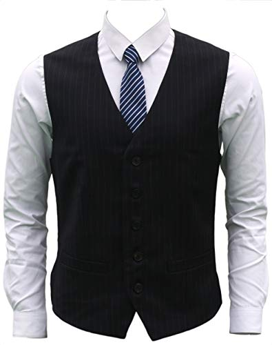Ruth&Boaz Men's 2Pockets 5Button Pin Stripe Business Suit Vest (XXL, Navy Pin Stripe)