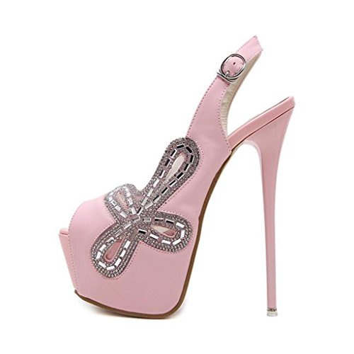 W&LM Sra Tacones altos Sandalias Esto es bueno Boca de pescado Sandalias metal Hebilla Sandalias Piedras de Strass Zapato Pink