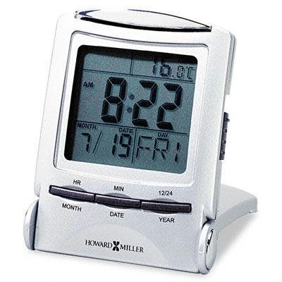 Distant Time Traveler Alarm Clock, 2-1/4in, Silver, 1 AAA