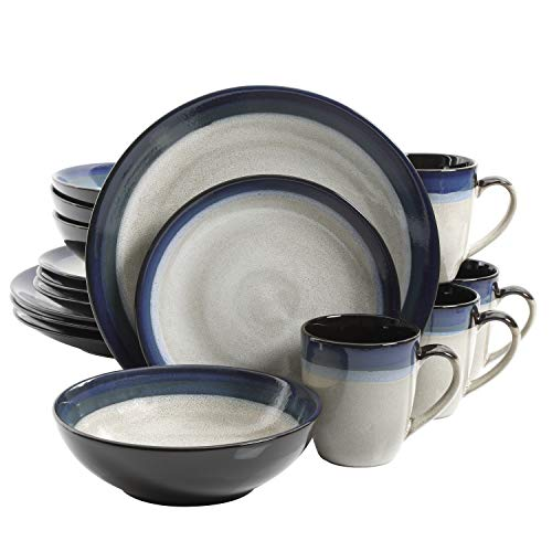 Gibson Elite Couture Bands Round Reactive Glaze Stoneware Dinnerware Set, Service for 4 (16pcs), Blue and Cream