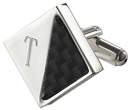 Visol Moretti Personalized Carbon Fiber and Silver Plated Cufflinks With Engraved Letter T