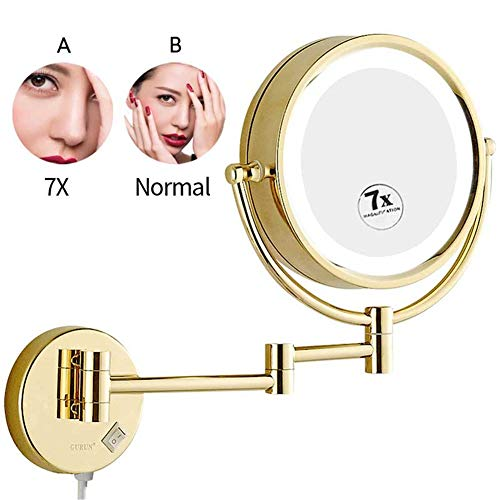 LED Makeup Mirrors Wall Mounted, 8.5 inch Double Sided Bathroom Brass Lighted -
