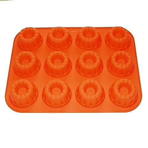X-Haibei Mini 12-donuts Chocolate Bundt Cake Pan Jello Baking Tray Silicone Mold