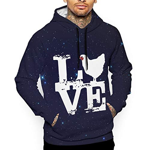 Love Chicken Men's Long Sleeve Hoodie Sweatshirt with Pocket Pullover Tops -