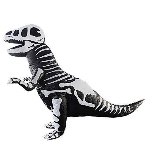 Inflatable Skeleton Dinosaur Costume Adults Halloween Cosplay Party Dress,Mullue Adults Inflatable Costume Dinosaur Halloween Fancy Dress Blow up Outfits (B)