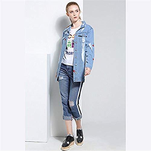 Giaccone Ricamo Blau Baseball Accogliente Casual Cute Strappato Ciliegia Moda Bavero Autunno Breasted Donna Elegante Jeans Outerwear Single Giacche Chic Giubbino wTHfqnX0