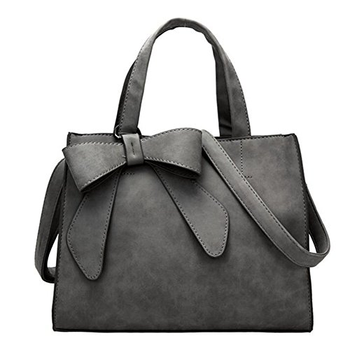 Women Handbags Fashion Bowknot PU Leather Shoulder Bags Messenger Tote Bags (Dark Grey)