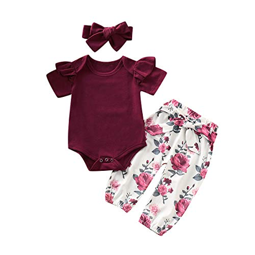 3PCS Infant Toddler Baby Girl Clothes Ruffle Romper Tops Bodysuit + Floral Halen Pants + Headband Outfit Set (Y Wine red(Short Sleeve), 0-6 Months)