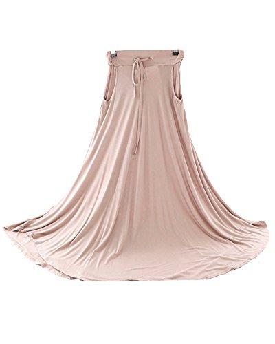 Fluide Jupe Une Swing Retro Couleur Peau Femme Cordelette Jupe Longue Maxi Casual qwSExp0a