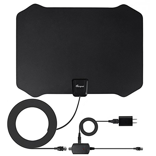 TV Antenna, 50 to 70 Mile Range Amplified Indoor HDTV Antenna with Detachable Amplifier Signal Booster and 16.5FT High Performance Coax Cable for Better Reception and Performance by Reignet