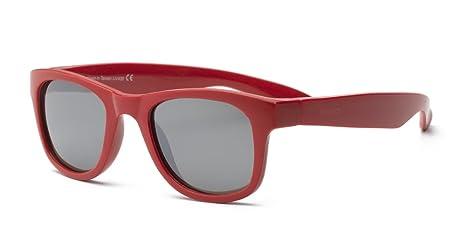 Surf Wayfarer Gafas de sol infantiles, ajuste flexible, tamaño 4 + rojo rojo