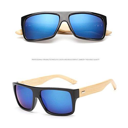 Blue Unisex Wooden Black Eyewear soleil Frame Natural UV Lunettes Summer Vintage New Sunglasses Bamboo Frame Anti Meijunter de TwUn45HxqU