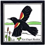 RED WINGED BLACKBIRD TILE, RED WINGED BLACKBIRD WALL PLAQUE, RED WINGED BLACKBIRD TRIVET