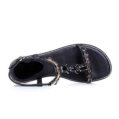Mujeres Sólido Tacón Puntera Mini Hebilla Negro Sandalia Descubierta AllhqFashion ztwqdt