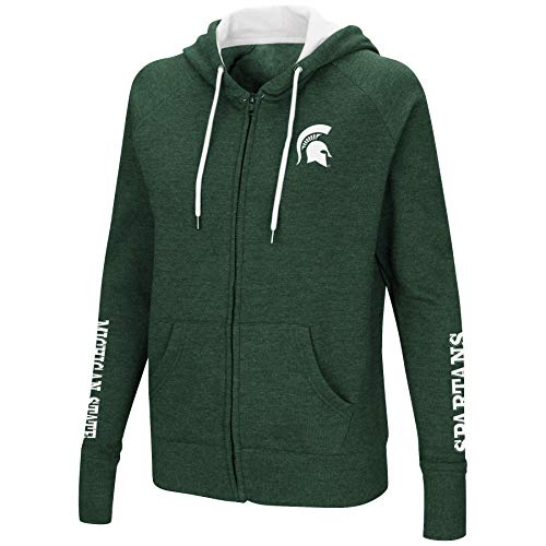 Colosseum Women's NCAA-Contract-Cotton/Poly-Fleece Full Zip Up Hoodie Sweatshirt-Michigan State Spartans-Heathered Green-Medium