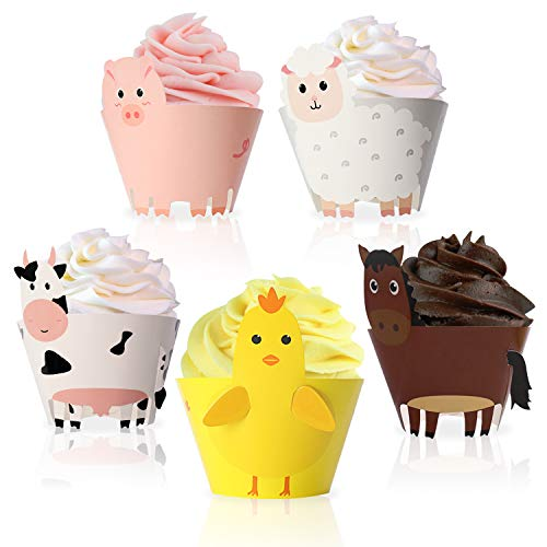 Farm Animal Cupcake Wrappers Toppers for Baby Shower Farmhouse Birthday Party Supplies Cake Decorations 25Pcs (Cakes Animal Birthday)