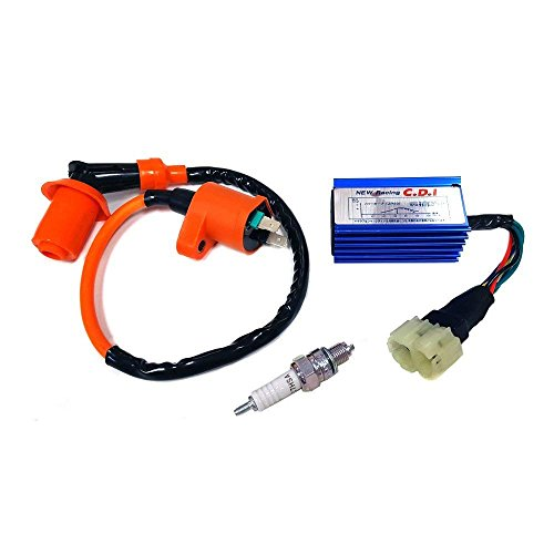 DishKooker High Performance Racing Ignition Coil + Spark Plug & AC CDI for GY6 50/125/150cc Kit ( GY6 Ignition Coil set ):