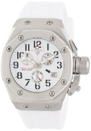 Swiss Legend Women's 10535-02-BLKRA Trimix Diver Chronograph White Dial White Silicone Watch