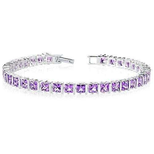 - 10.00 Carats Amethyst Bracelet Sterling Silver Rhodium Nickel Finish Princess Cut