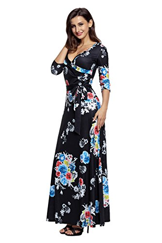 V 10 Black Maxi S Tie Dress 2 Floral Women Neck Floral Waist AlvaQ Printed Wrap XXL 1FqxFE