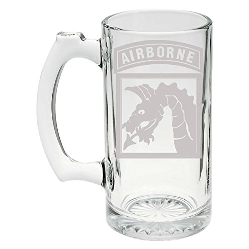 - US Army - 18th Airborne Corps SSI - Patch Etched Stein Glass 25oz, Mug