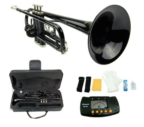 Merano 661881 B Flat BLACK/Silver Trumpet with Case+Mouth Piece+Valve Oil+Metro Tuner
