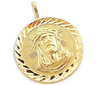 14k Yellow Gold Jesus Face Round Coin Pendant Charm