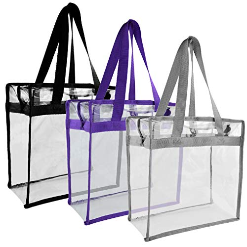 - Yookat 3pcs 3 Color Clear Tote Bag Transparent Bags Clear Lunch Bag PVC Tote Bag Clear Bag Stadium Approved for NFL Football Games, PGA, NCAA Events, Works, for Women Men