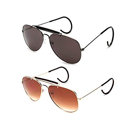 ff09eafcd8f Timeless Classic Aviator Sunglasses with Brow Bar and Cable Wire Wrap Ears  Temples For Secure Fit