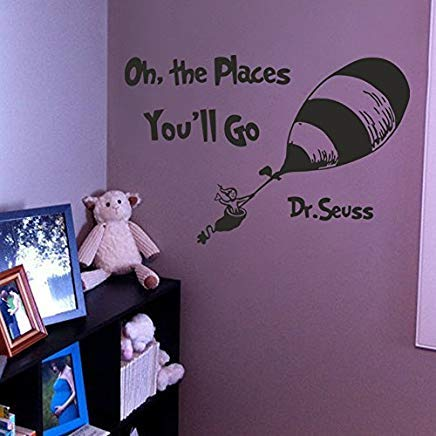 Teisyouhu Novelty Wall Decor Dr Seuss Nursery Quote Oh The Places You'll Go Crib Bedding Mural Bedroom Dorm White 39