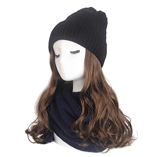 STfantasy Women Slouchy Winter Knit Beanie Hat with Brown Long Curly Wavy Synthetic Hair Wig Attached]()