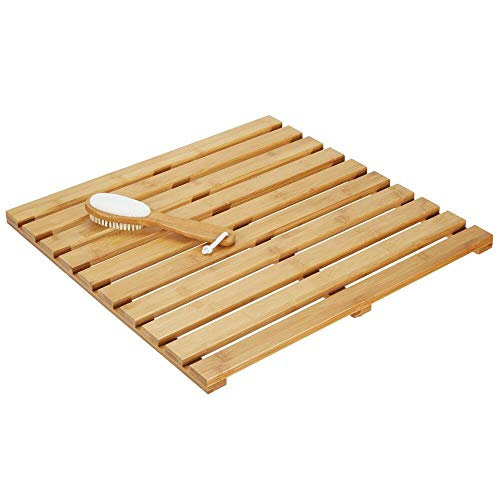 mDesign 100% Bamboo Non-Slip Rectangular Spa Bath Mat - for Bathroom Showers, Bathtubs, Floors - Slatted Design, Eco-Friendly - Indoor and Outdoor Use - Natural Light Wood