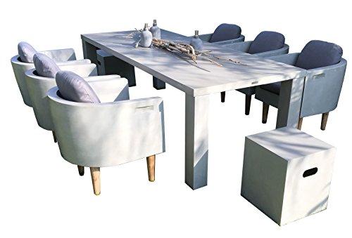 Matodi Esstisch Set 9 teilig Sitzgruppe Betonmöbel: Amazon.de: Garten