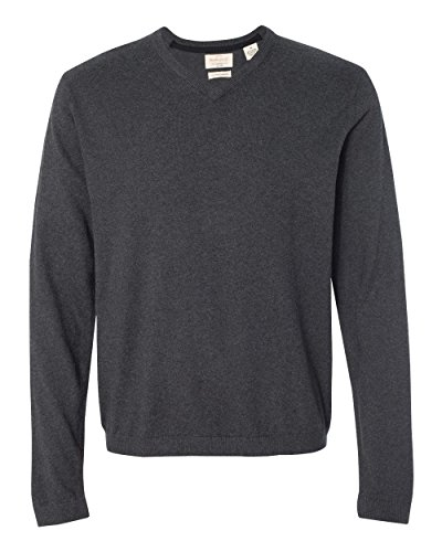 Cashmere Vintage Sweater (Weatherproof Vintage Cotton Cashmere V-Neck Sweater. 151377 - X-Large - Charcoal Heather)