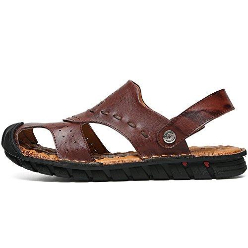 Backless all'aperto piatto la escursioni scarpe piedi chiuso uomini Casual Cuoio degli punta Sandali genuino 2018 shoes a a antiscivolo regolabile morbido Mens per spiaggia zxRwqnSUa