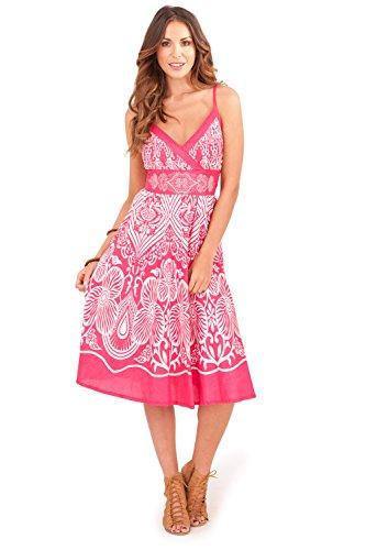 Vestido Floral de Dama Pistachio con Cruzado Frontal para el Verano Pink Buttercup