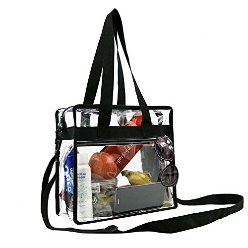BeeGreen Stadium Clear Bags w Front Pocket and Adjustable Shoulder Carry Handles, NCAA NFL & PGA Security Approved Clear Purse & Gym Transparent Zippered Tote Bag