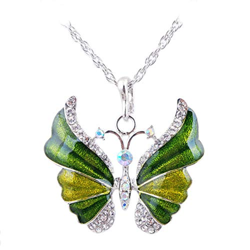 (Aysekone Green Elegant Rhinestone Alloy Enamel Butterfly Pendant Necklace Suspension Silver Plated Vintage Sweater Chain Necklace for Women Girls)