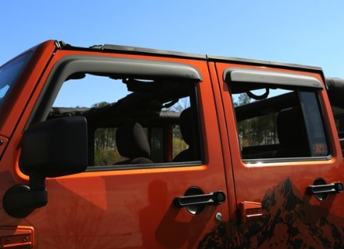 Jeep Window Deflectors - Rugged Ridge 11349.12 Matte Black Window Visor for 2007-2018 Jeep Wrangler JK, 4-Door, Pack of 4