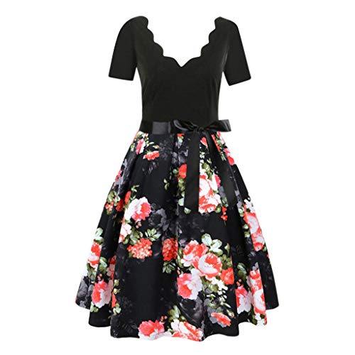 Sunhusing Women Casual Short Sleeve Floral Printed Vintage Flare Gown Belt Lace-Up Evening Party Dress -