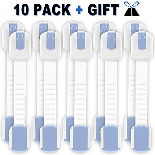 Knodel Adjustable Child Safety Locks, Baby Safety Strap Locks with Extra 3M Adhesives, Multi Use Strap Latches for Cabinets & Appliances, No Tools Required (Blue, 10)