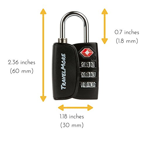 6 Pack Open Alert Indicator TSA Approved 3 Digit Luggage Locks for Travel Suitcase & Baggage (Black) by TravelMore (Image #2)