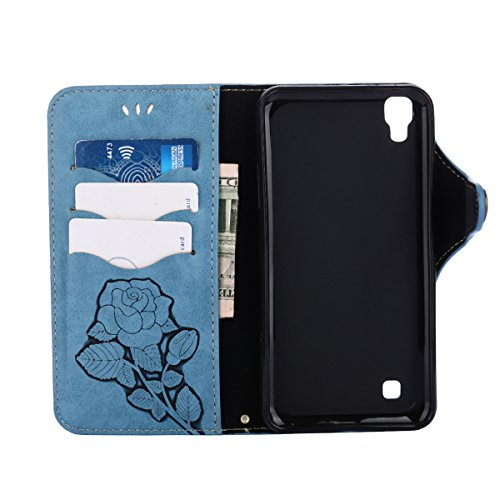 MEIRISHUN Leather Wallet Case Cover Carcasa Funda con Ranura de Tarjeta Cierre Magnético y función de soporte para LG X Power - Caqui Azul