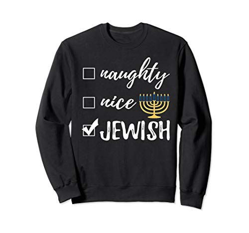 Naughty Nice Jewish Funny Sweater Ugly Christmas Hanukkah -