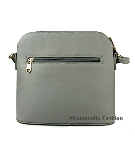 Snakeskin Tassel Faux Crossbody Trendy Grey Mini Handbag Women's Leather REDFOX Zip White Sling wE6gXFq