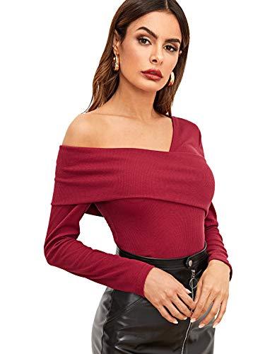 (Romwe Women's Slim Cross Wrap Asymmetrical Neck Solid Ribbed Knit Tee Shirt Blouse Red Medium)