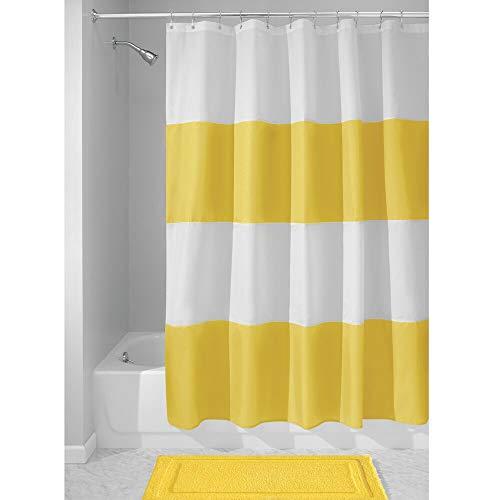 Yellow Stripe Shower Curtain - mDesign Bold Stripe Waterproof, Heavy Duty Flat Weave Fabric Shower Curtain - for Bathroom Showers and Bathtubs - 72