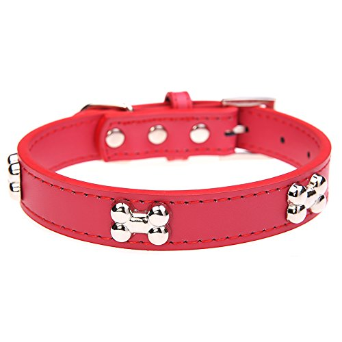 Leather Dog Collar with Bone Charm for Small Dogs Red S 8-11 inches 30 cm (Dog Bone Collar Charm)