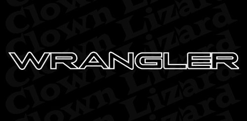 """""""Wrangler"""" Outline Windshield Vinyl Banner Wall Decal 38"""" x 3"""" With Free Bumper Sticker"""